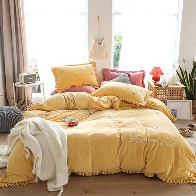 2019新款-220克美肤宝宝绒四件套 床单款1.8m(6英尺)床 彩虹-柠檬黄