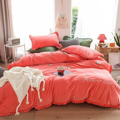 2019新款-220克美肤宝宝绒四件套 床单款1.8m(6英尺)床 彩虹-珊瑚橘