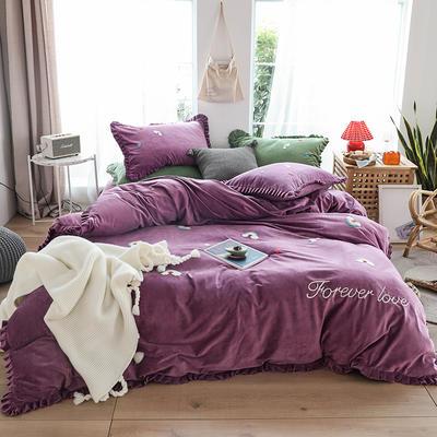 2019新款-220克美肤宝宝绒四件套 床单款1.8m(6英尺)床 彩虹-星空紫