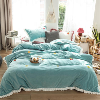 2019新款-220克美肤宝宝绒四件套 床单款1.8m(6英尺)床 微笑天使-梵星绿
