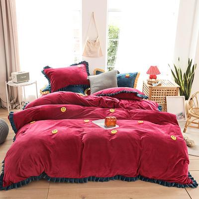 2019新款-220克美肤宝宝绒四件套 床单款1.8m(6英尺)床 微笑天使-嘉年红