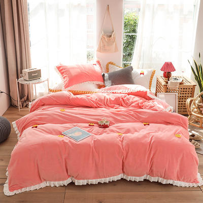 2019新款-220克美肤宝宝绒四件套 床单款1.8m(6英尺)床 微笑天使-暮光粉