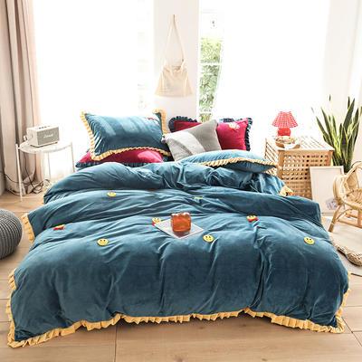 2019新款-220克美肤宝宝绒四件套 床单款1.8m(6英尺)床 微笑天使-月光蓝