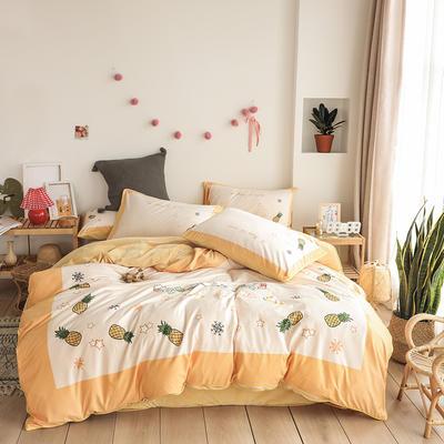 2019新款-婴儿绒数码印花四件套 床单款1.8m(6英尺)床 菠萝蜜