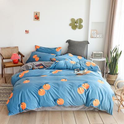 2019新款-婴儿绒数码印花四件套 床单款1.8m(6英尺)床 橘子红了