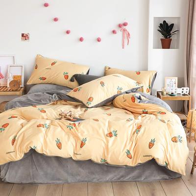 2019新款-婴儿绒数码印花四件套 床单款1.8m(6英尺)床 开心萝卜