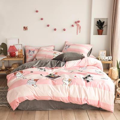 2019新款-婴儿绒数码印花四件套 床单款1.8m(6英尺)床 开心猫咪