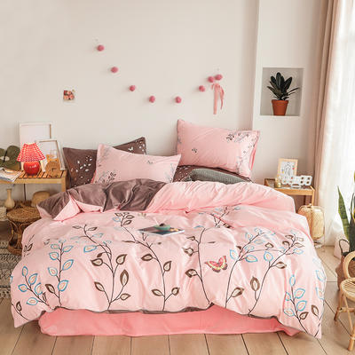 2019新款-婴儿绒数码印花四件套 床单款1.8m(6英尺)床 秘密花园-粉