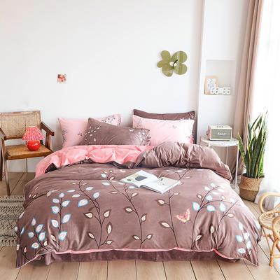 2019新款-婴儿绒数码印花四件套 床单款1.8m(6英尺)床 秘密花园-咖