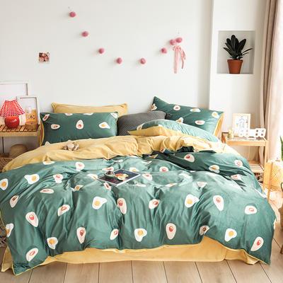 2019新款-婴儿绒数码印花四件套 床单款1.8m(6英尺)床 牛油果