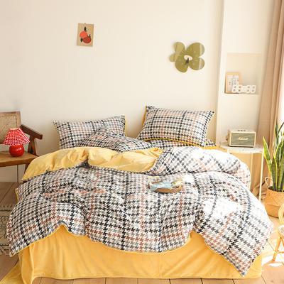 2019新款-婴儿绒数码印花四件套 床单款1.8m(6英尺)床 千鸟格