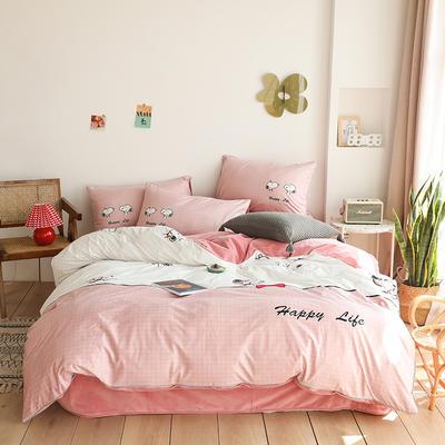 2019新款-婴儿绒数码印花四件套 床单款1.8m(6英尺)床 史努比-粉