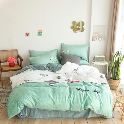 2019新款-婴儿绒数码印花四件套 床单款1.8m(6英尺)床 史努比-绿