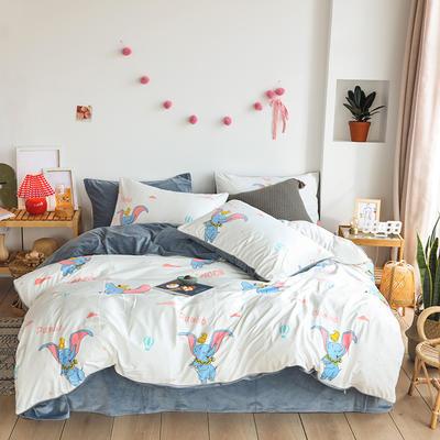 2019新款-婴儿绒数码印花四件套 床单款1.8m(6英尺)床 小飞象-白