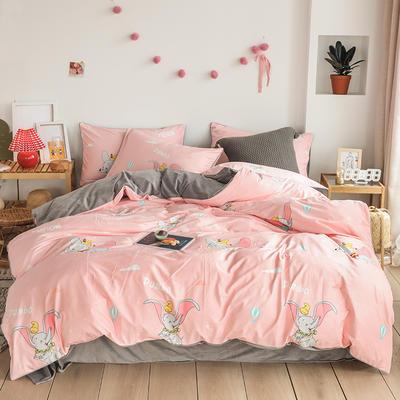 2019新款-婴儿绒数码印花四件套 床单款1.8m(6英尺)床 小飞象-粉