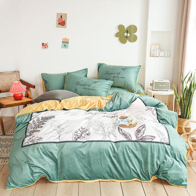 2019新款-婴儿绒数码印花四件套 床单款1.8m(6英尺)床 邂逅-绿