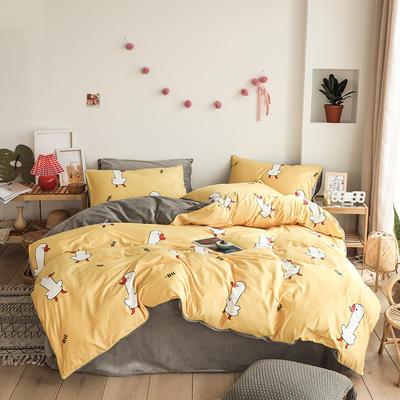 2019新款-婴儿绒数码印花四件套 床单款1.8m(6英尺)床 幸福吖