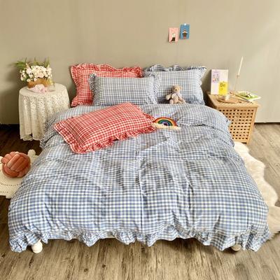2020新款-韩版色织水洗棉四件套 床单款四件套1.5m(5英尺)床 汐颜-薄雾蓝