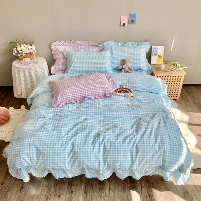 2020新款-韩版色织水洗棉四件套 床单款四件套1.5m(5英尺)床 汐颜-冰川蓝