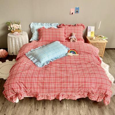 2020新款-韩版色织水洗棉四件套 床单款四件套1.5m(5英尺)床 汐颜-草莓红