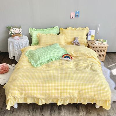2020新款-韩版色织水洗棉四件套 床单款三件套1.2m(4英尺)床 汐颜-柠檬黄