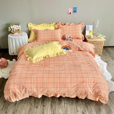 2020新款-韩版色织水洗棉四件套 床单款三件套1.2m(4英尺)床 汐颜-牛奶桔