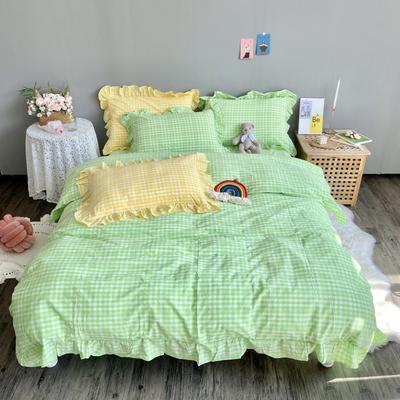 2020新款-韩版色织水洗棉四件套 床单款四件套1.5m(5英尺)床 汐颜-苹果绿