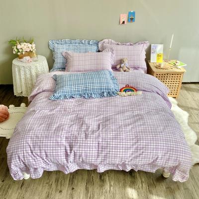 2020新款-韩版色织水洗棉四件套 床单款四件套1.5m(5英尺)床 汐颜-薰衣紫