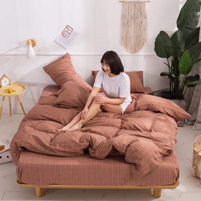 2020新款-生态色织水洗醇棉四件套 床单款1.5m(5英尺)床 花漾-红