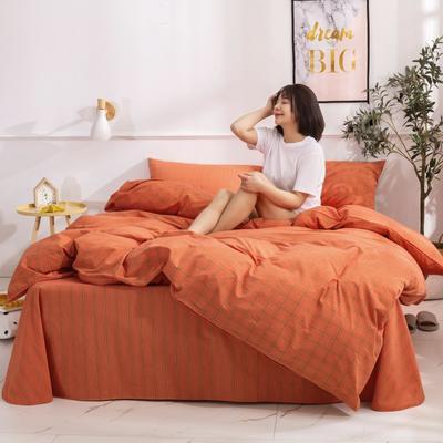 2020新款-生态色织水洗醇棉四件套 床单款1.5m(5英尺)床 花漾-桔