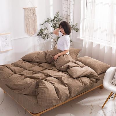 2020新款-生态色织水洗醇棉四件套 床单款1.5m(5英尺)床 花漾-咖