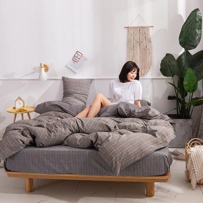 2020新款-生态色织水洗醇棉四件套 床单款1.5m(5英尺)床 花漾-兰
