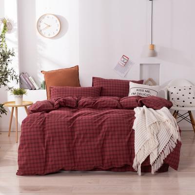 2020新款-生态色织水洗醇棉四件套 床单款1.5m(5英尺)床 玛卡龙-红