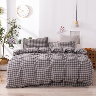 2020新款-生态色织水洗醇棉四件套 床单款1.5m(5英尺)床 玛卡龙-灰