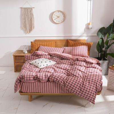 2020新款-生态色织水洗醇棉四件套 床单款1.5m(5英尺)床 摩登-粉