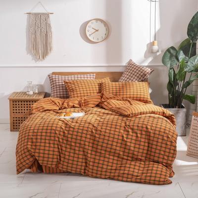 2020新款-生态色织水洗醇棉四件套 床单款1.5m(5英尺)床 摩登-桔