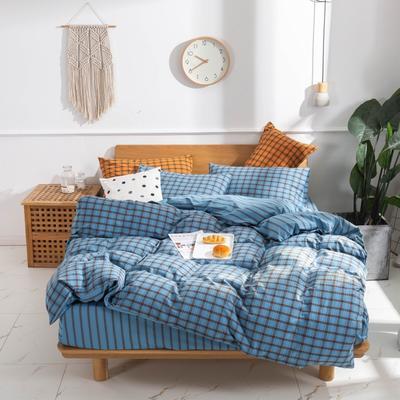 2020新款-生态色织水洗醇棉四件套 床单款1.5m(5英尺)床 摩登-兰
