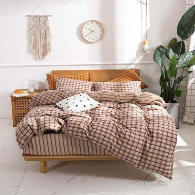 2020新款-生态色织水洗醇棉四件套 床单款1.5m(5英尺)床 摩登-浅咖