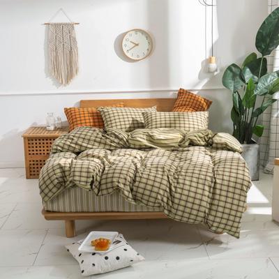 2020新款-生态色织水洗醇棉四件套 床单款1.5m(5英尺)床 摩登-浅绿