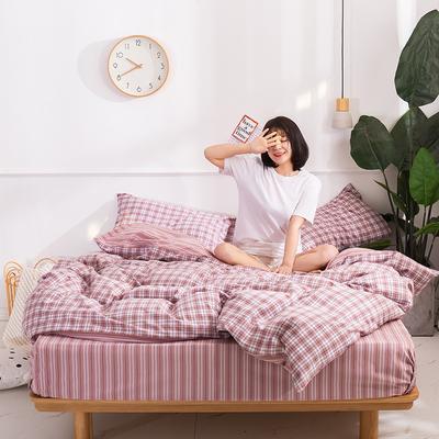 2020新款-生态色织水洗醇棉四件套 床单款1.5m(5英尺)床 青涩-粉