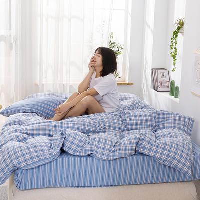 2020新款-生态色织水洗醇棉四件套 床单款1.5m(5英尺)床 青涩-蓝