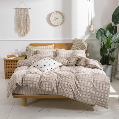 2020新款-生态色织水洗醇棉四件套 床单款1.5m(5英尺)床 青涩-米