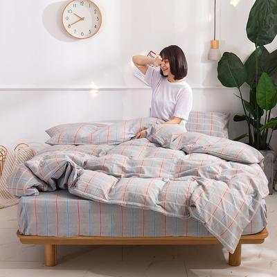 2020新款-生态色织水洗醇棉四件套 床单款1.5m(5英尺)床 素颜-灰