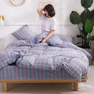 2020新款-生态色织水洗醇棉四件套 床单款1.5m(5英尺)床 素颜-蓝