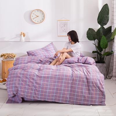 2020新款-生态色织水洗醇棉四件套 床单款1.5m(5英尺)床 素颜-紫
