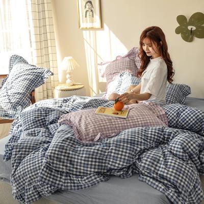2020新款-纯棉色织水洗棚拍图四件套 床单款四件套1.5m(5英尺)床 汐颜-薄雾蓝
