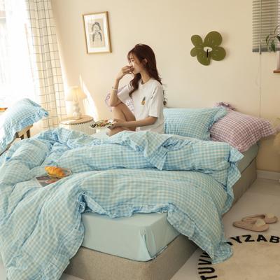 2020新款-纯棉色织水洗棚拍图四件套 床单款四件套1.5m(5英尺)床 汐颜-冰川蓝