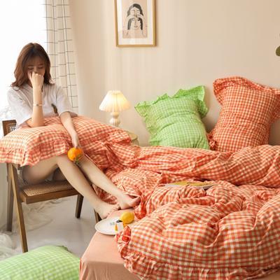 2020新款-纯棉色织水洗棚拍图四件套 床单款三件套1.2m(4英尺)床 汐颜-奶油桔