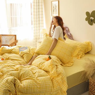 2020新款-纯棉色织水洗棚拍图四件套 床单款三件套1.2m(4英尺)床 汐颜-柠檬黄