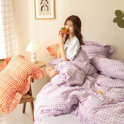 2020新款-纯棉色织水洗棚拍图四件套 床单款四件套1.5m(5英尺)床 汐颜-薰衣紫